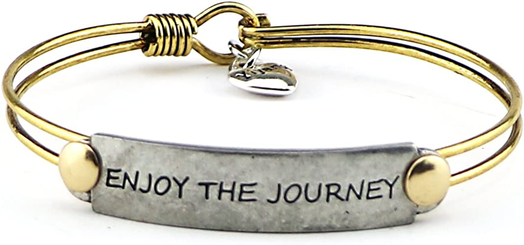 Yiyang Inspirational Bangle Bracelet Motivational Meaningful Brave Quotes Engraved on Jewelry Gift