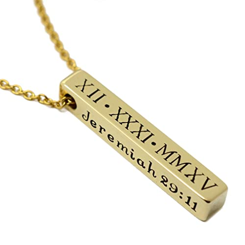 88b07f16bf15c Amazon.com: Personalized Brass Bar Necklace - Vertical Name Bar ...