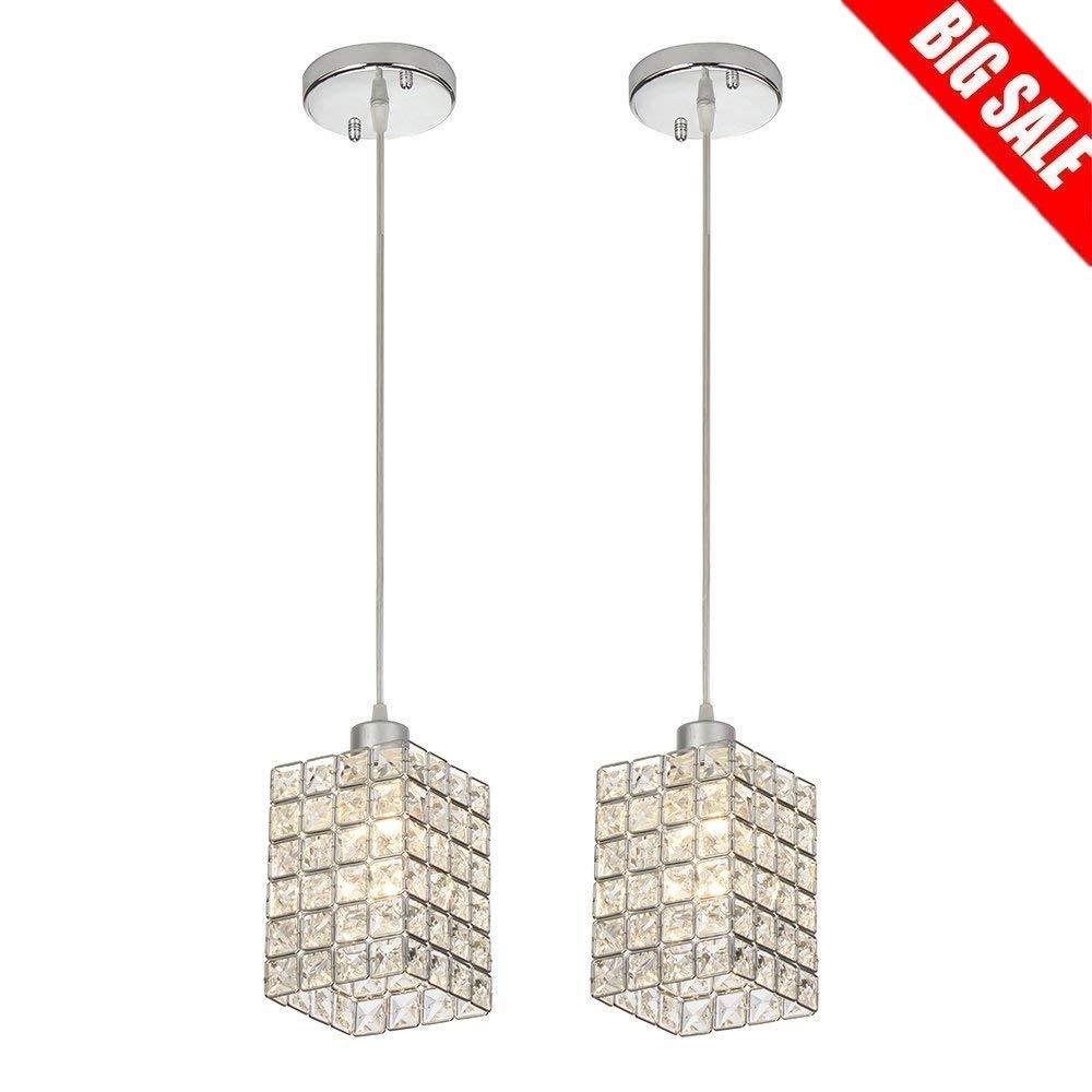 Sottae hanging light 2 lights 59 05 cord adjustable kitchen crystal pendant light chrome finish ceiling pendant light fixtures2 packs amazon com
