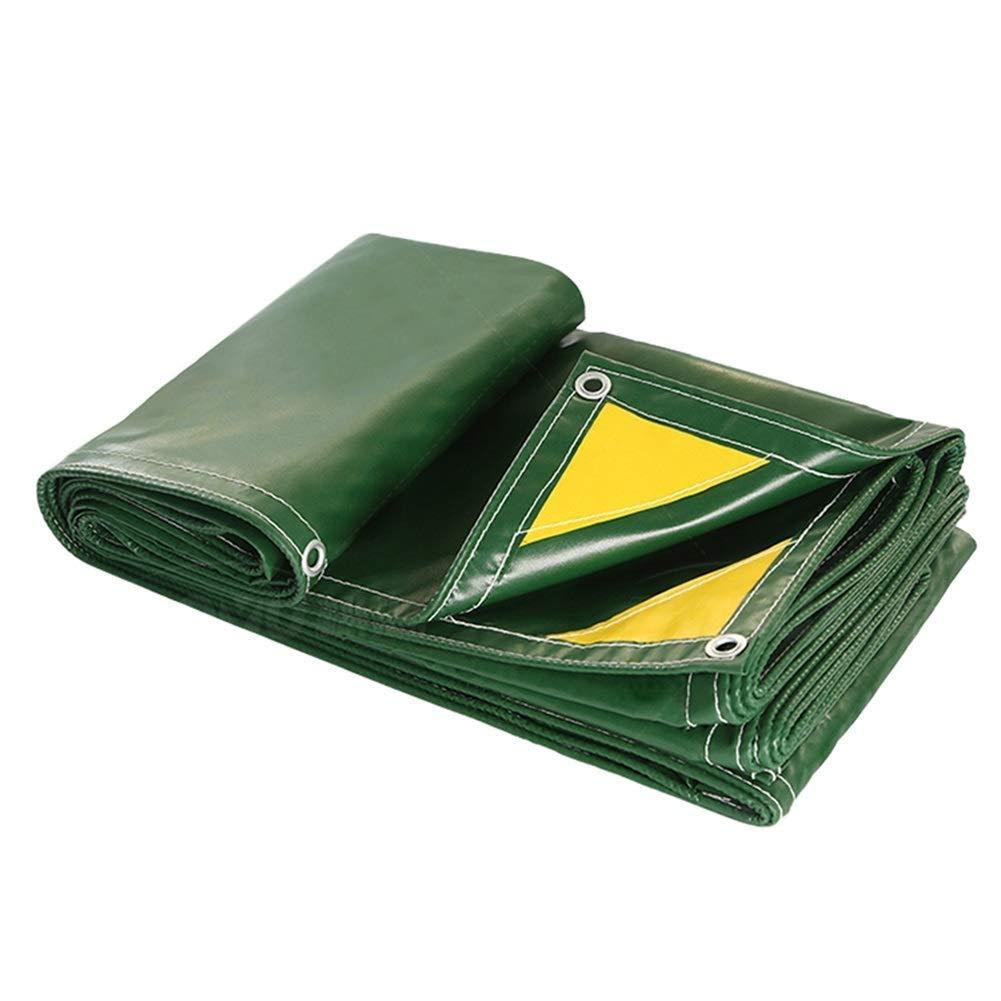 グロメット付き防水ターポリン、屋外用耐摩耗性トレーラーカバー、ヘビーデューティPVCタープ、グリーン FENGMIMG (色 : 緑, サイズ さいず : 4x4M) 4x4M 緑 B07QSQGJ9X