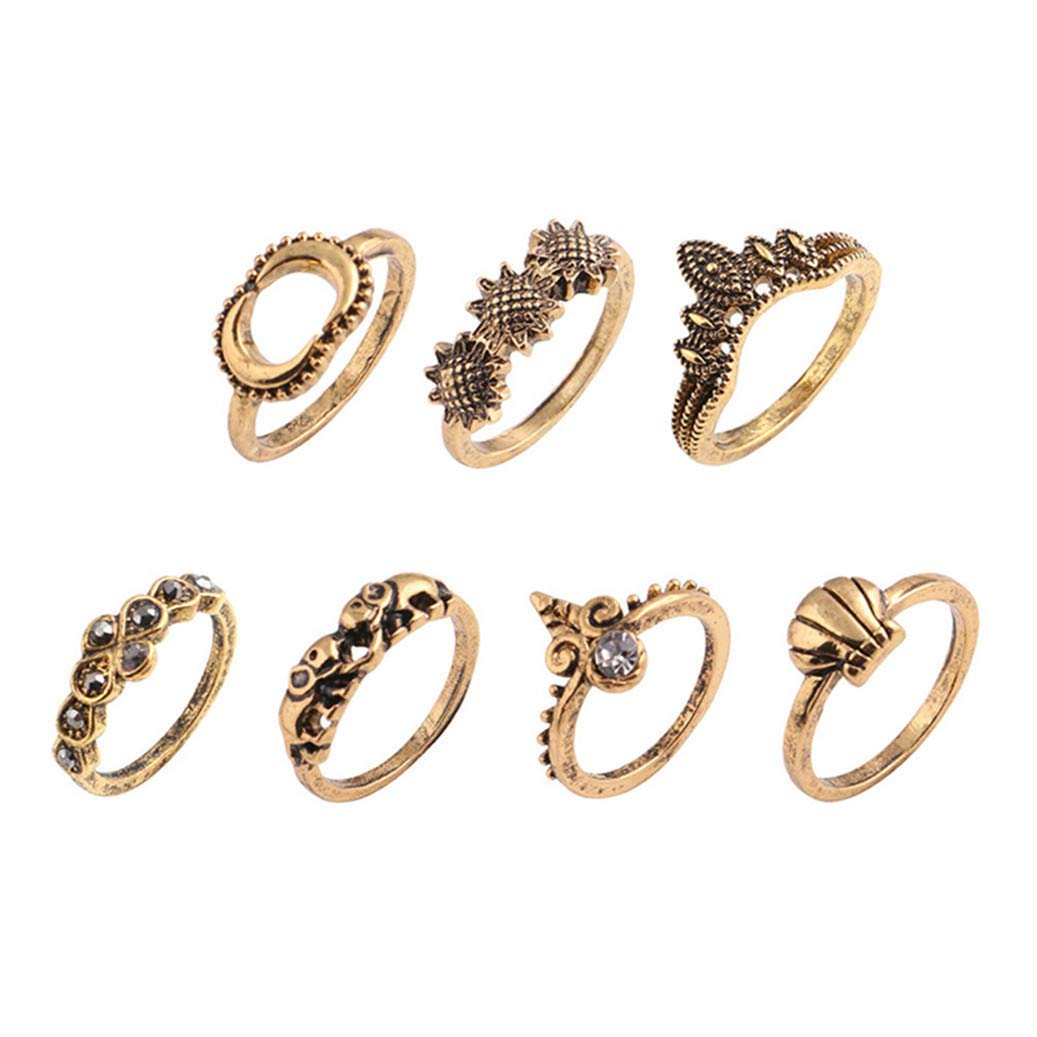 GOMYIE Knuckle Ring Set Vintage Crown Unicorn Elephant Flower Yoga Wave Joint Knuckle Rings(Gold Color)