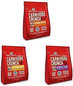 Stella & Chewy's Freeze-Dried Raw Carnivore Crunch Dog Treats (Bundle of 3, 3.25 oz. Bags) - Beef, Chicken, Turkey