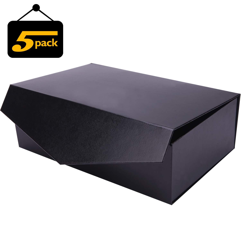 LELADY JEWELRY Scatola magnetica chiusura, confezione regalo chiusura magnetica, confezione regalo pieghevole, scatola decorativa con chiusura magnetica, confezione da 5,nero