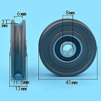 8 * 45 * 11.5 mm Groove, U Groove, verpackt Kunststoff Seilrolle ...