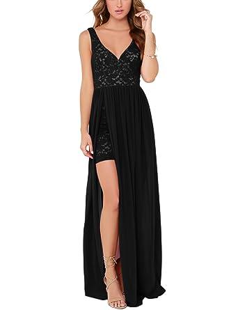 e9c656b5c8b Blooming Jelly Women s Sexy Deep V Neck Backless Lace Bodycon Zipper Tank  Floor Length Flowy Summer Maxi Dress (Small