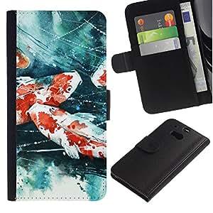 LECELL--Cuero de la tarjeta la carpeta del tirón Smartphone Slots Protección Holder For HTC One M8 -- Pintura del cangrejo de río --