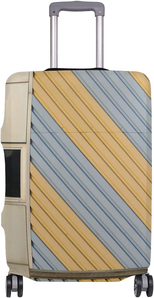 Travel Luggage Cover Abstract Gray Yellow Block Suitcase Protector Fits 18-20 Inch Washable Baggage Covers