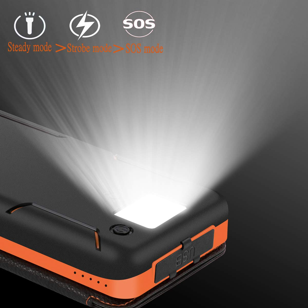 Solar Charger 24000mAh,Solar Power Bank Waterproof Dual USB Output with 3 Solar Panels External Battery Bank with Flashlight for iPhone,Samsung,iPad and Outdoor Camping(Orange) by WBPINE (Image #5)