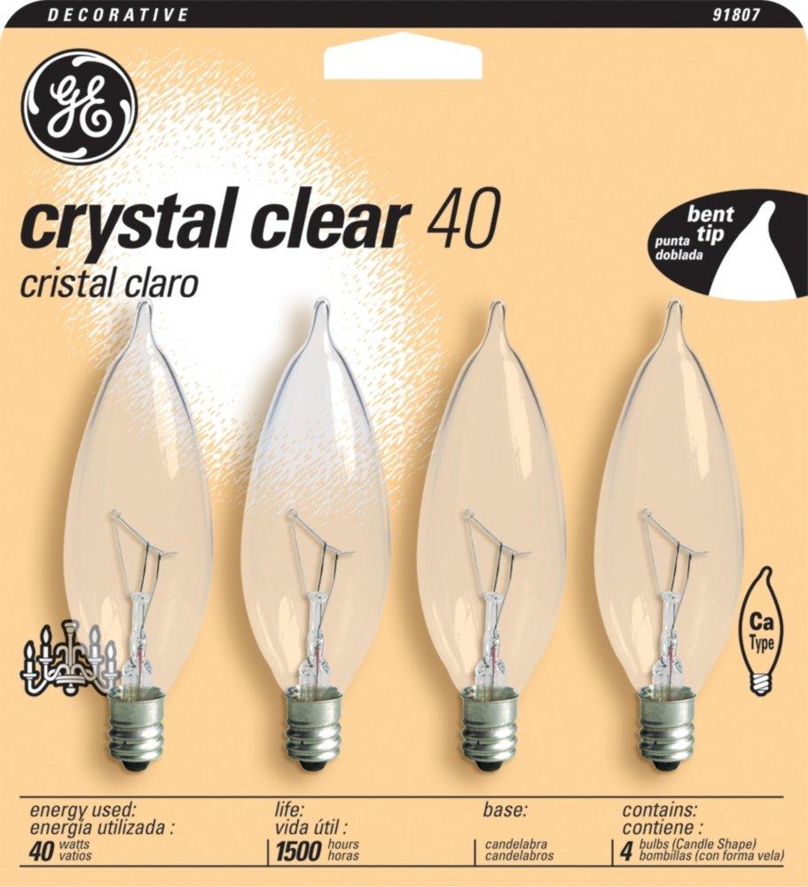 GE 16047 40-Watt Bent Tip Candelabra Base Light Bulb, Crystal Clear, 4-Pack - Incandescent Bulbs - Amazon.com