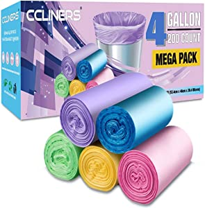 Small Trash Bags CCLINERS 4 Gallon Garbage Bags Bathroom Trash Can Liners for Home Kitchen and Office (200 Count, 5 Colors)