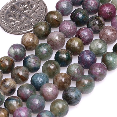 (GEM-inside Natural 6mm Round Green Red Brazil Ruby Apatite Beads for Jewelry Making Strand 15