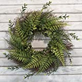 "Pure Garden 50-217 Artificial Fern Grapevine Base-UV Resistant Greenery Wreath with Blossoms, Slim Profile for Front Door, Wall Decor, 21"", Green"