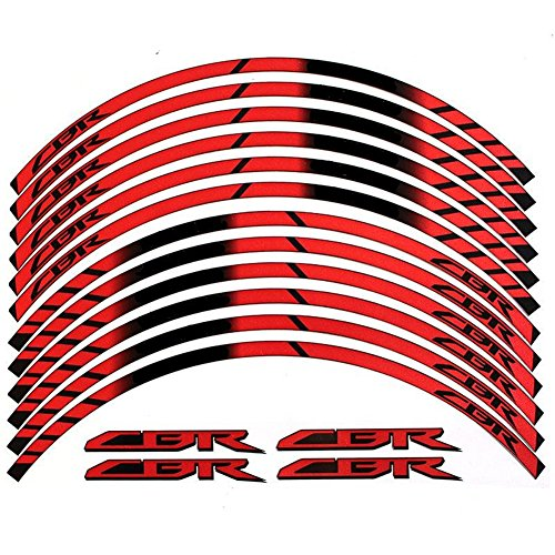 - Red 10 X Custom Rim Decals Wheel Reflective Stickers Stripes for Honda CBR 600 1000 1100 250 929 900 954 300 500 RR