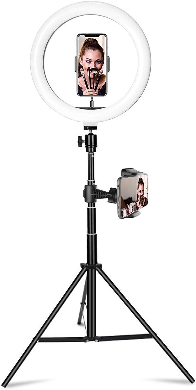 25 4 Cm Selfie Ringlicht Mit Verstellbarem Stativ Ständer 2 Handyhalterungen Und Handy Fernauslöser Kleine Led Ringleuchte Für Live Streaming Make Up Videoaufnahmen Fotografie Elektronik