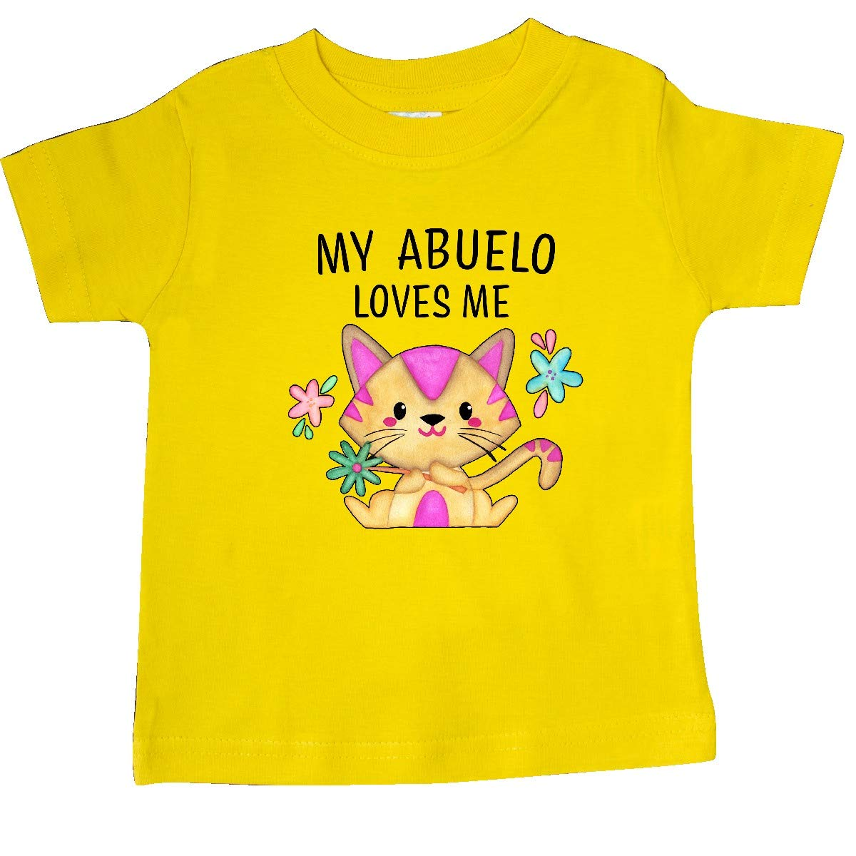 inktastic My Abuelo Loves Me with Cute Kitten and Flowers Baby T-Shirt