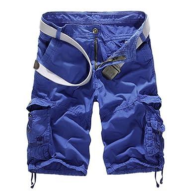 CHIYEEE Pantalones Cortos de Carga Hombres Militar Bermuda Multi-Bolsillo Vintage Pantalones Cortos Algodón Pantalones nWI6kTes