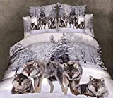 HomeDeluxe 100% Cotton 4 Pieces 3D Four Wolf Animal White Snow Tree Winter Prints Duvet Cover Sets Bedding Sets Flat Sheet Pillow Cases (Comforter Not Included) (Full)