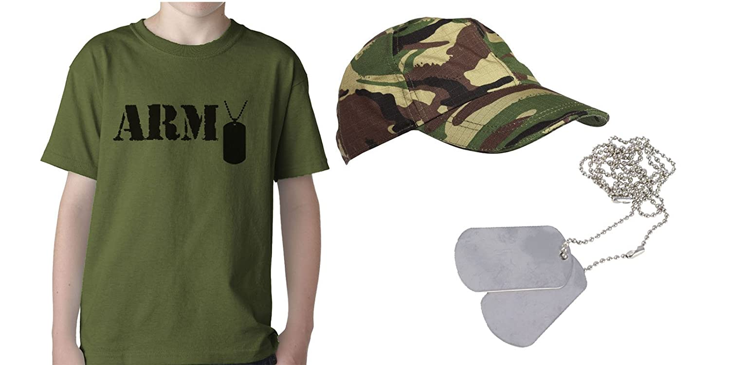 Kids Army Dress Up Set - Army Printed TShirt - DPM Cap - Dog Tags - Role Play