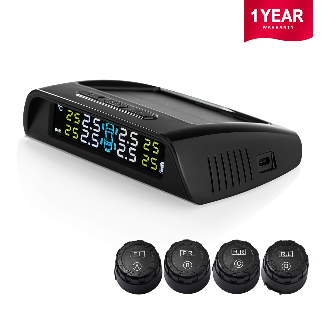 Favoto TPMS Tyre Pressure Monitoring System 22-87 Psi Solar Powered Car Real-time Wireless Auto Alarm System with 4 External Sensors(with 6 CR1632 batteries) 1 Year's Garantee