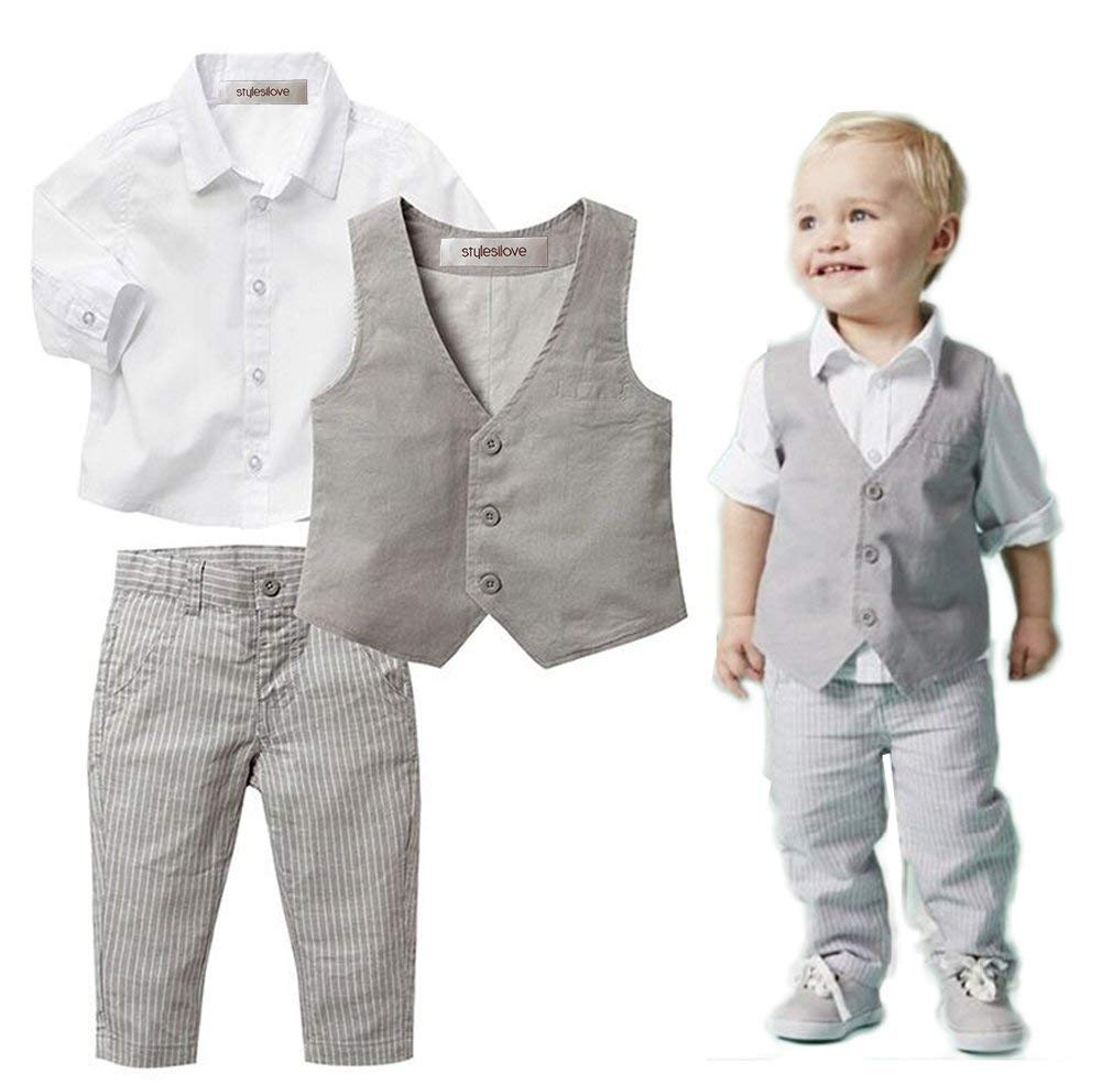stylesilove Infant Baby Kid Boy Formal Wear Shirt, Vest and Pants 3-pc (100/2-3 Years) Khaki by stylesilove