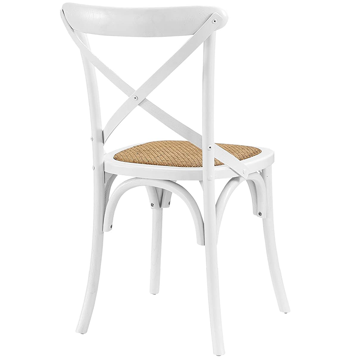 Modway Gear Modern Farmhouse Cross Back Solid Elm Wood Dining Side Chair With Rattan Seat In White
