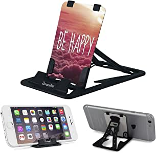 Slim-Pro Stand by Amusent-Ultra Slim Portable Phone Stand, Kickstand-As Small As Credit Card, Pocket Size-Foldable, Adjustable, Multi-Angle, Compatible w/iPhone, Smartphones & Tablets (BE Happy)