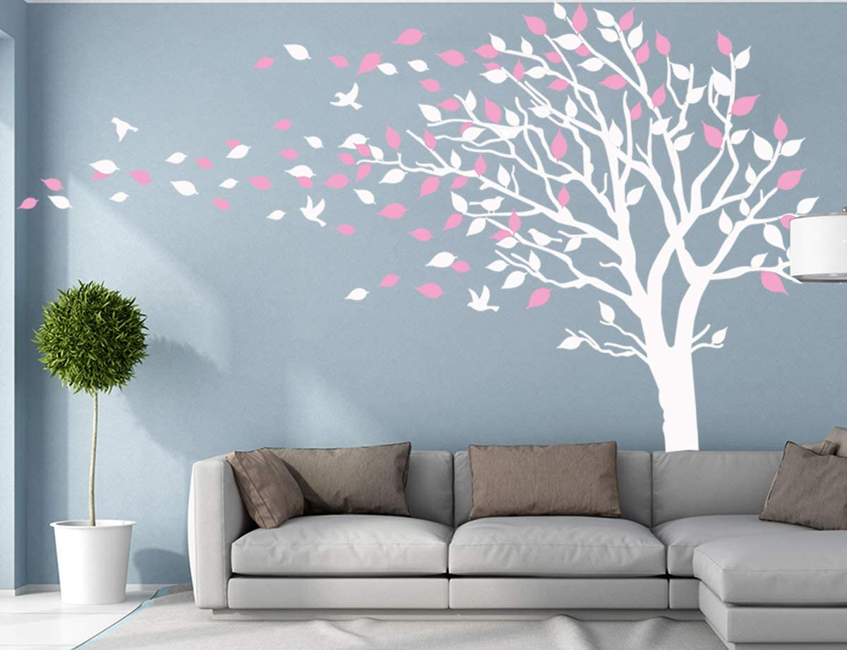 Large Tree Blowing in The Wind Tree Wall Decals Wall Sticker Vinyl Art Kids Rooms Teen Girls Boys Wallpaper Murals Sticker Wall Stickers Nursery Decor Nursery Decals (White and Pink,Left)
