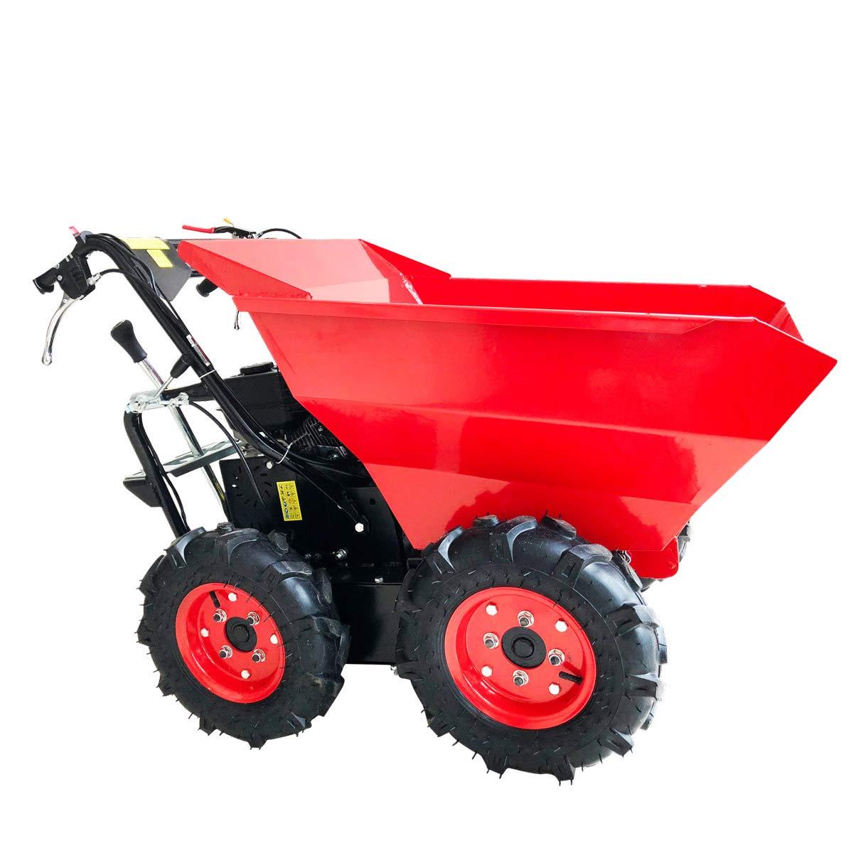 BRAST Benzin Muldenkipper Mini-Dumper Motor-Schubkarre Dumper Radlader 4, 8kw/6, 5PS Allradantrieb 300 kg Traglast