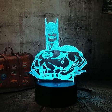 Lámpara De Mesa LED De Luz Nocturna 3D Nueva Dc Hero Batman Figura ...