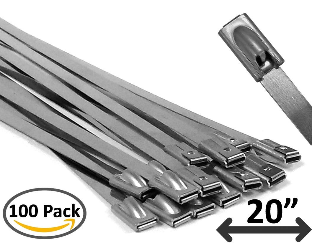 20'' Stainless Steel Cable Ties - 100 pieces
