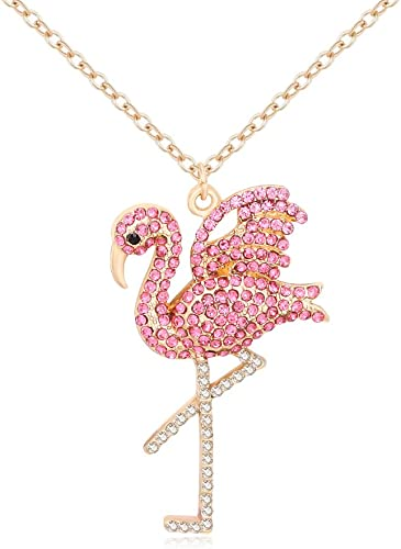 Cute Flamingo Bird Pendant Necklace for Women ChristmasNecklace for Teen Girls