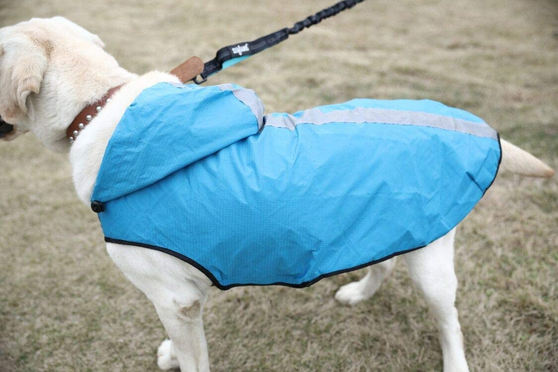 M, Purple sengupets Waterproof Dog Raincoat Adjustable Hood Poncho for Small Medium Large Dogs Lightweight Packable Jacket with Reflective Stripes for High Visibility Safety
