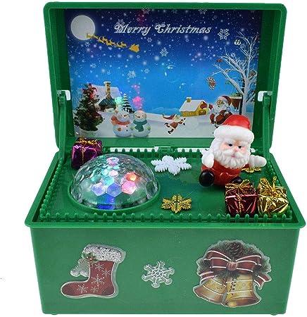 Caja De Música De Santa Claus, Caja De Música De Feliz Navidad con Luces Juguete Musical Eléctrico Niños,Verde: Amazon.es: Hogar