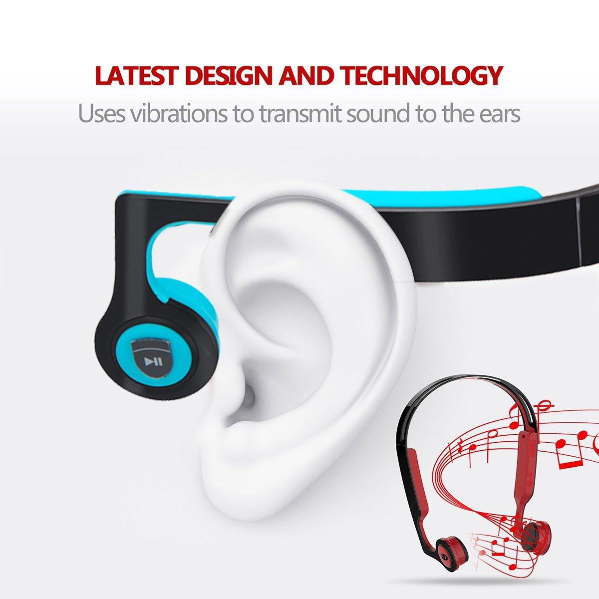 Bone Conduction Headphones,Wireless Headphones Bluetooth 4.2 Stereo Open Eardrum Headphones Waterproof for Sports Driving Running Driving,Sweatproof Waterproof