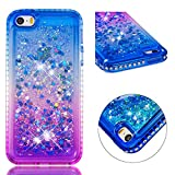 for iphone 5/5S iphone SE Case Glitter Liquid and Screen Protector,Gradient Colors Design Shiny Diamond Frame Clear Slim Fit Protective Phone Case,QFFUN Bling Sparkle Floating Quicksand Back Cover Shockproof Anti-Scratch Soft TPU Bumper - Blue and Purple