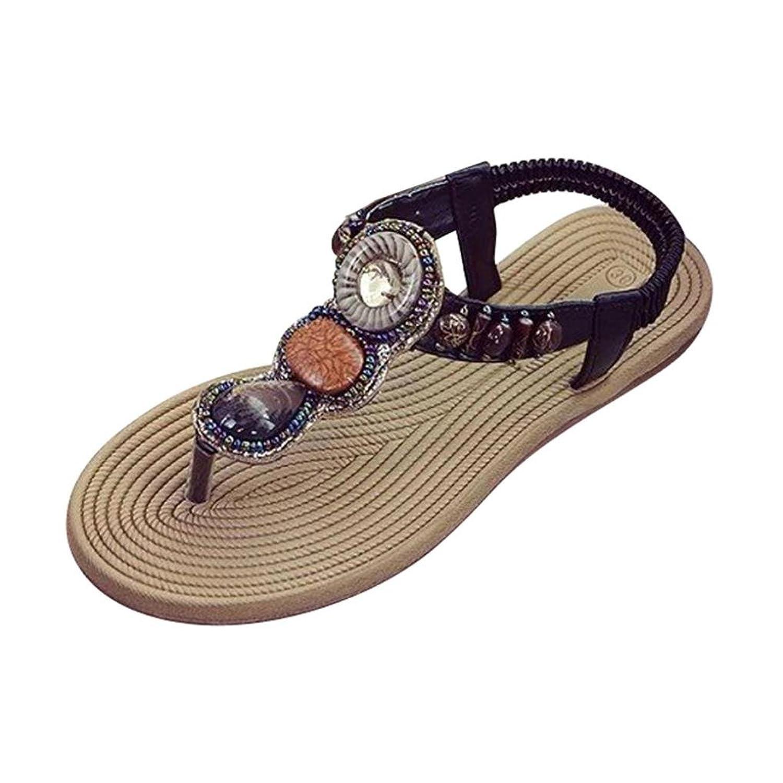 d27312a9c2e14 Makaor Women Ladies Summer Bohemian Flip Flops Elastic Flat Sandals  Gemstone Slippers Beach Shoes good