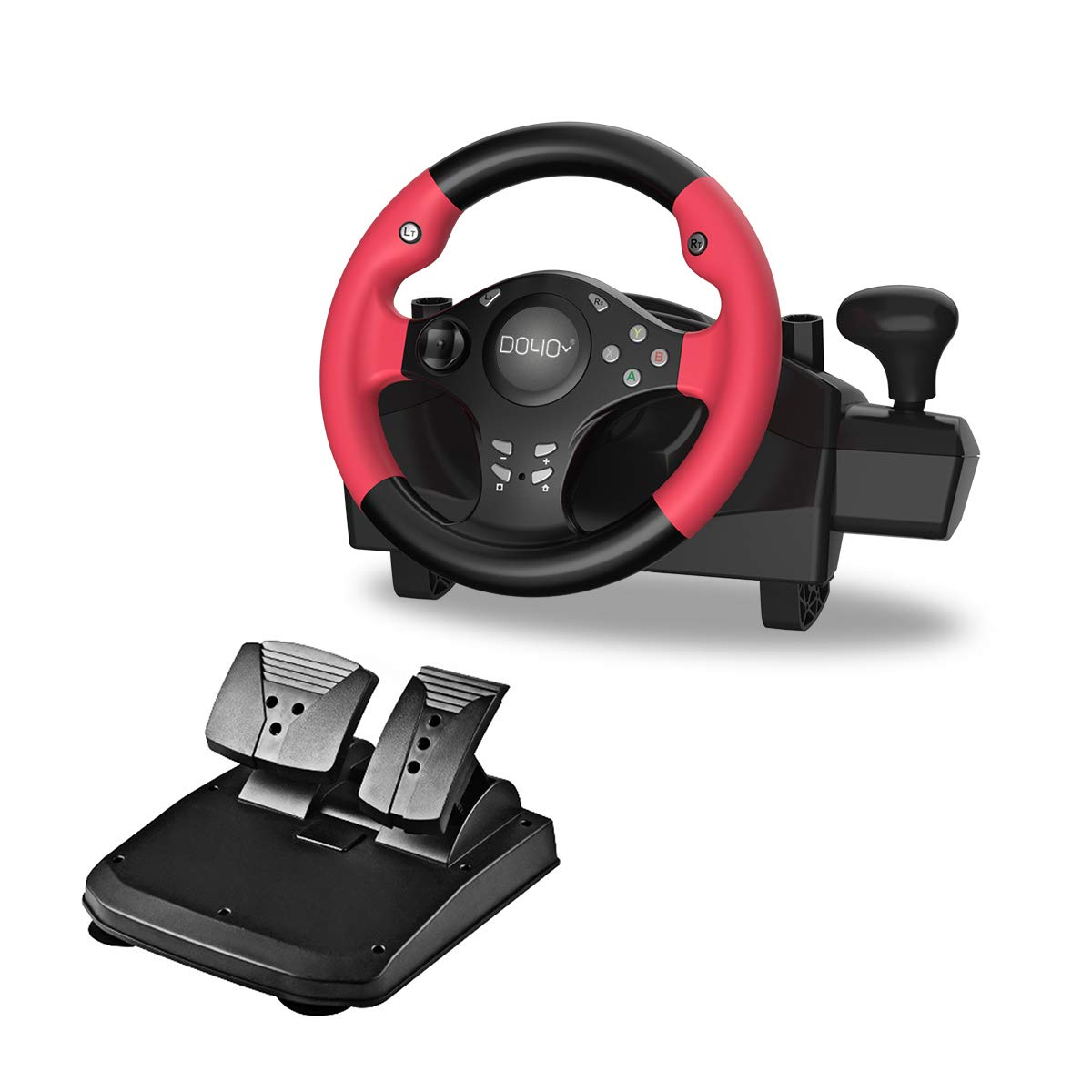 DOYO 270 Degree Motor Vibration Driving Gaming Racing Wheel with Responsive Gear and Pedals for PC/PS3/NIntendo Switch/TV BOX