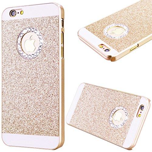 GrandEver Custodia Rigida per iPhone 6 iPhone 6S 4.7, UltraSlim Dura PC Protettiva Cover Bumper, Glitter Bling Hard Protettivo Durable Case con Diamanti Back Case Copertura - Oro