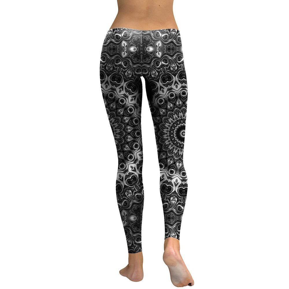 MAYUAN520 Gambali Donne Mandala Fiore 3D Stampata Leggins Lo Scheletro di Donna Moda Elastico Sottile Pantaloni Pantaloni,XL