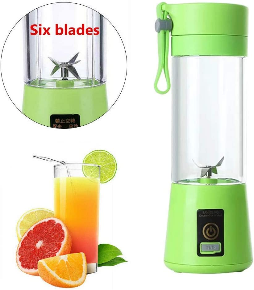Portable Electric Fruit Juicer Extractor Juice Automatic Blender Mixer Bottle 400ML 6 Blade 21W USB Rechargeable Easy to Clean