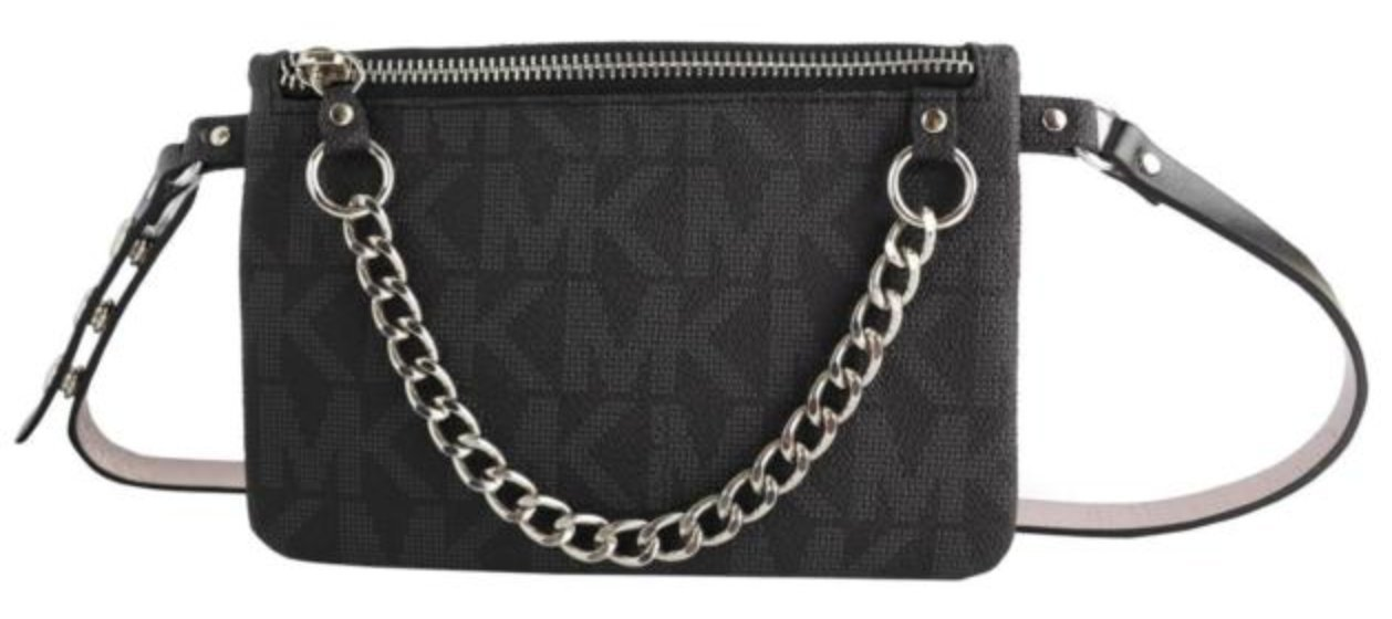 Michael Kors MK Fanny Pack Belt With Pull Chain, Black/Grey, LARGE