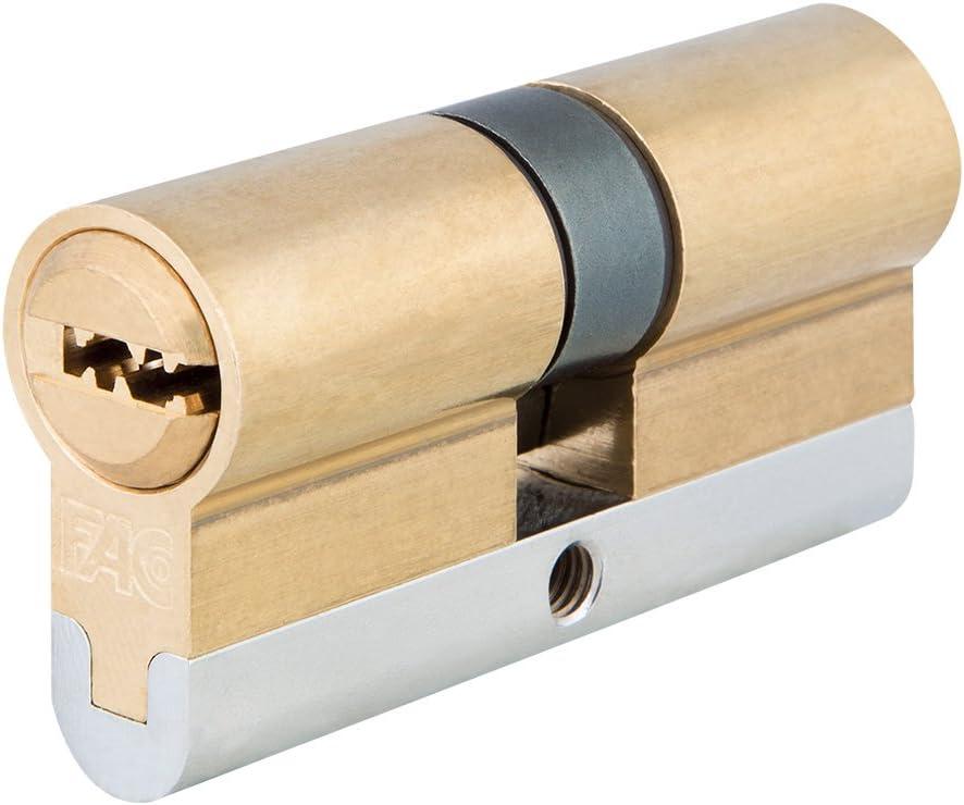 FAC 23237 Cilindro de Perfil Europeo de Alta Seguridad, Latonado, 62 mm