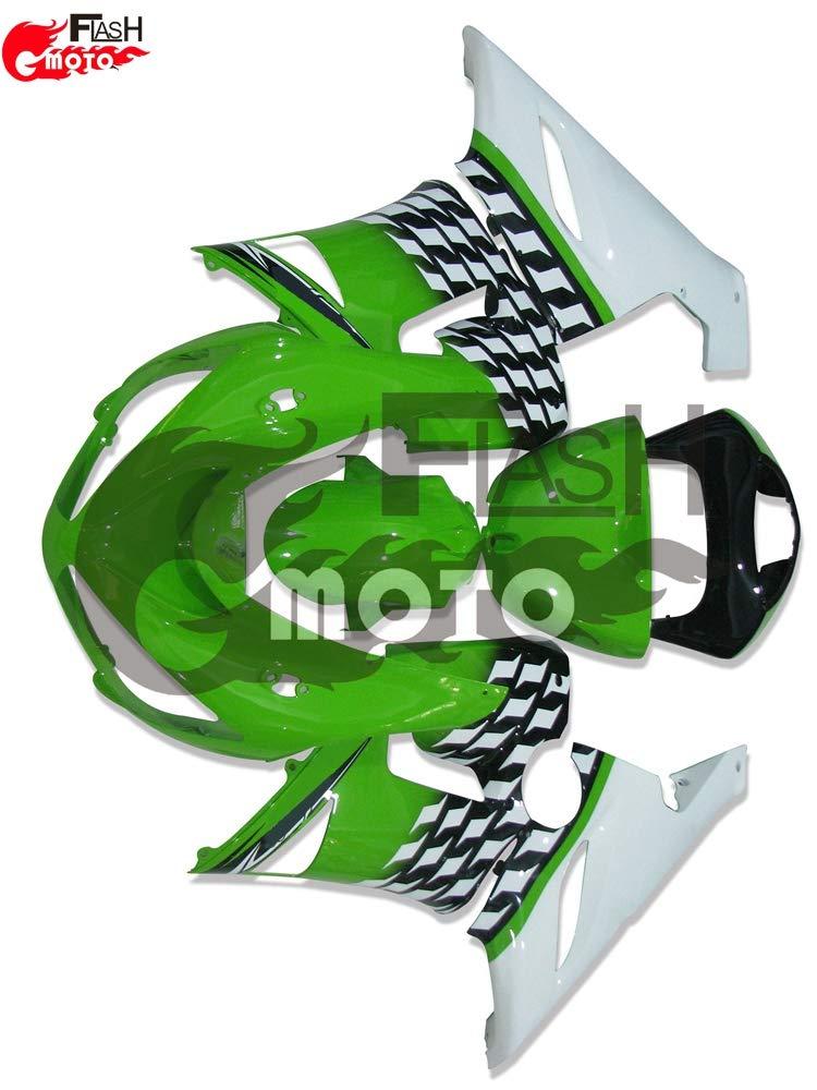FlashMoto kawasaki 川崎 カワサキ ZX6R ZX-6R Ninja 636 2005 2006用フェアリング 塗装済 オートバイ用射出成型ABS樹脂ボディワークのフェアリングキットセット (グリーン,ホワイト)   B07L88XX2M