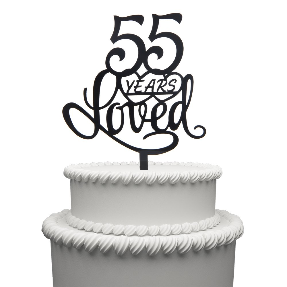 Hatcher lee 55 Years Loved Cake Topper for 55 Years Birthday Or 55TH Wedding Anniversary Black Acrylic Party Decoration (55)
