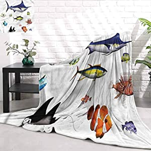 Stevenhome Kids Blanket AquariumHawaiian Pacific Fauna Sleeping Supplies Large Towel Outdoor Warm Aid Blanket W90 x L70 inch