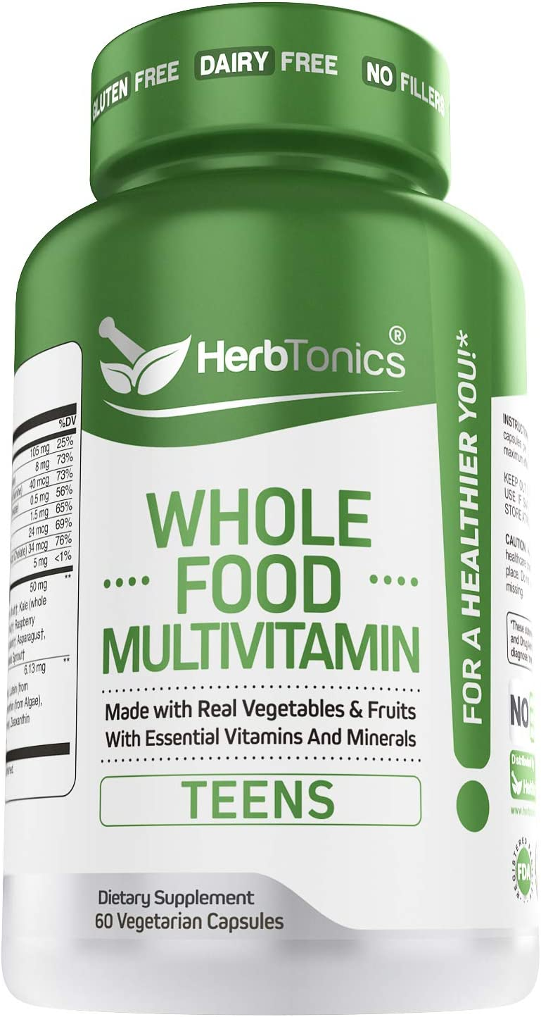 Whole Food Multivitamin for Teens (Boys & Girls) Kids & Children Plant Based with 62 Superfoods Raw Veggies, Fruits Vitamin Complex Supplement Vegan & Vegetarian 60 Capsules
