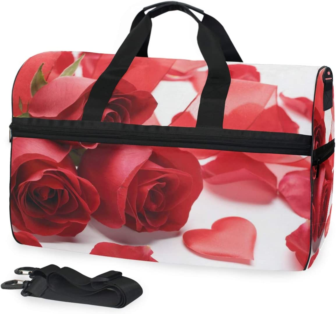 Travel Duffels Roses Heart Love Duffle Bag Luggage Sports Gym for Women /& Men