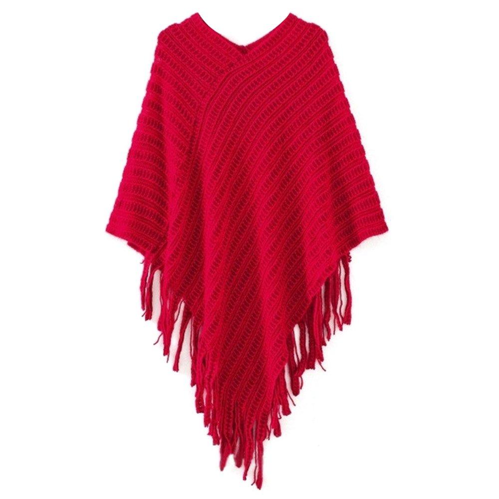 Bodhi2000® Womens Batwing Tassel Knit Cloak Poncho Shawls Sweater Outwear Tops 6120324ZQ1XY5421