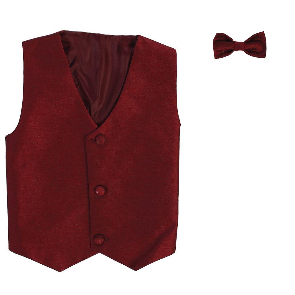 Lito Big Boys Burgundy Poly Silk Vest Bowtie Special Occasion Set 8-14