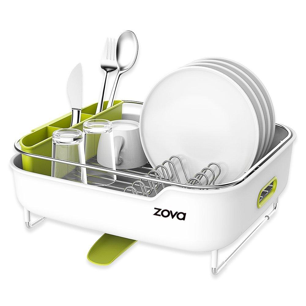 zova Premium Stainless Steel Dish Drying Rack with Swivel Spout, Dish Drainer Utensil Organizer for Kitchen– Medium, White &Green Ningbo Zova Home Living Co. Ltd. SF7023